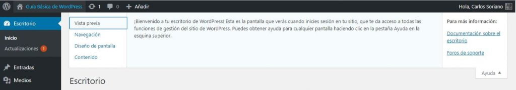Ayuda del Escritorio de WordPress