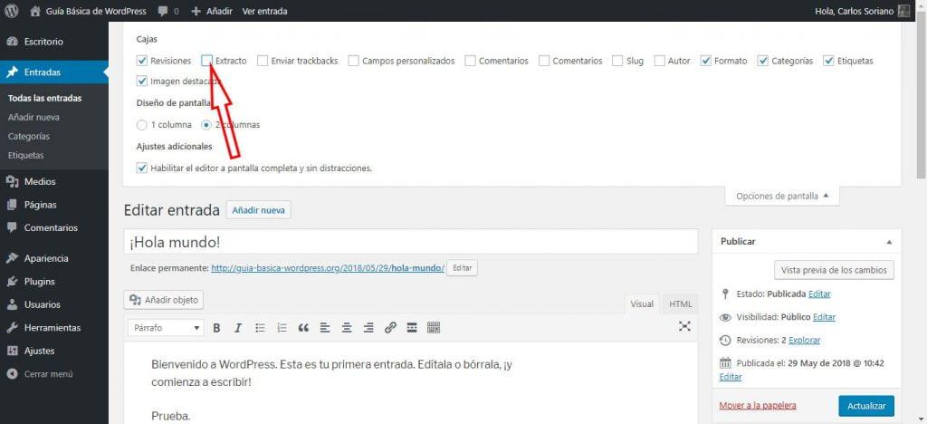 Activar Extractos WordPress