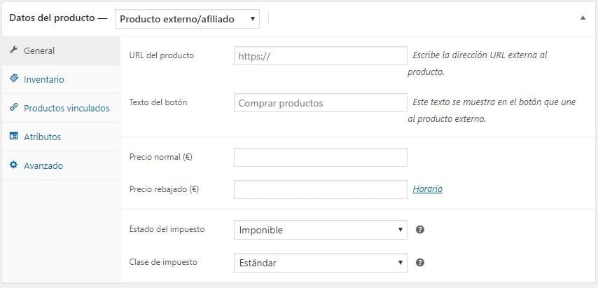 Crear un Producto Externo - Afiliado - Datos del Producto