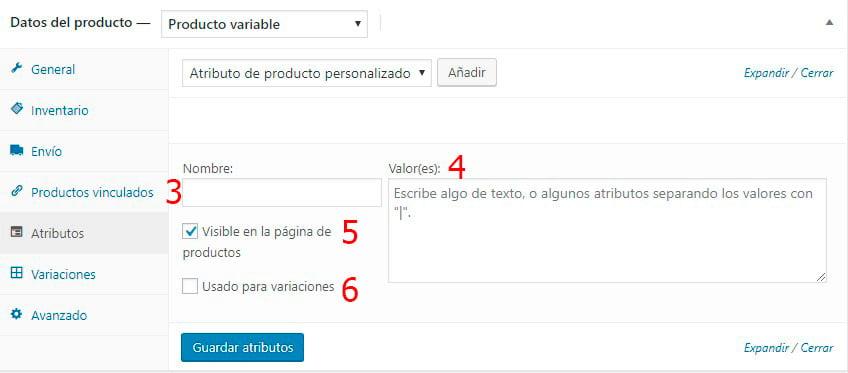 Crear un producto variable en WooCommerce - Crear Atributos personalizado